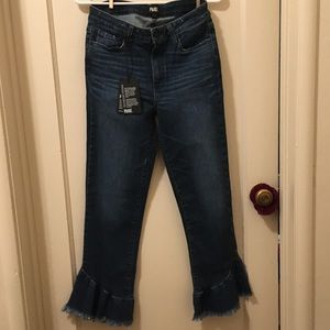 NWT PAIGE Hoxton High Waist Ruffled Ankle Jeans